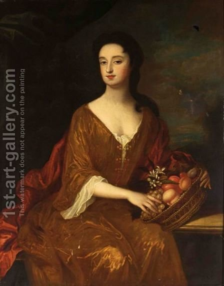 A Portrait Of A Lady, Seated Three-Quarter Length, Wearing A Red Dress And White Blouse, Holding A Basket With Various Fruits by (after) William Wissing Or Wissmig - Reproduction Oil Painting