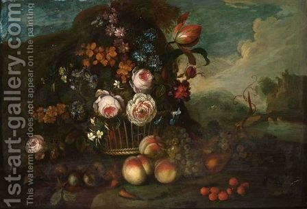 A Still Life With Roses, A Tulip And Other Flowers In A Basket, Peaches, Grapes And Strawberries In Front, In A Landscape by (after) Pieter Hardime - Reproduction Oil Painting