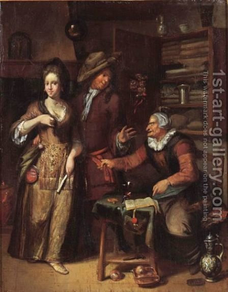 An Elegant Couple In An Interior With A Spinster At A Table Pointing At A Contract by (after) Hendrik De Valk - Reproduction Oil Painting