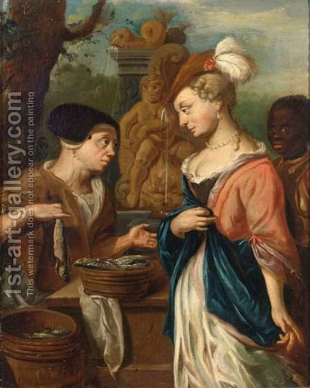A Woman Selling Herring To An Elegant Lady And Her Servant, A Fountain Beyond by (after) Jacob Toorenvliet - Reproduction Oil Painting
