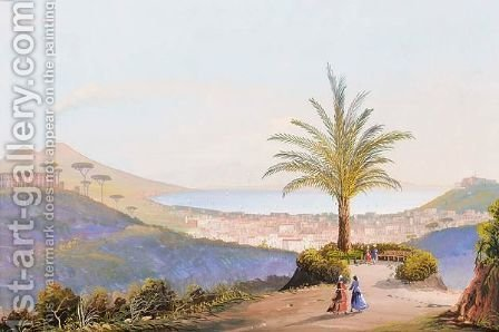A View Of The Bay Of Naples Near Villa Galla by Italian School - Reproduction Oil Painting