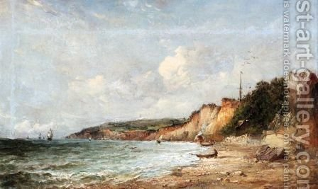 A Coastal View, Probably The Isle Of Wight by Alfred Vickers - Reproduction Oil Painting