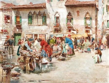 At The Market by Giuseppe Vizzotto Alberti - Reproduction Oil Painting