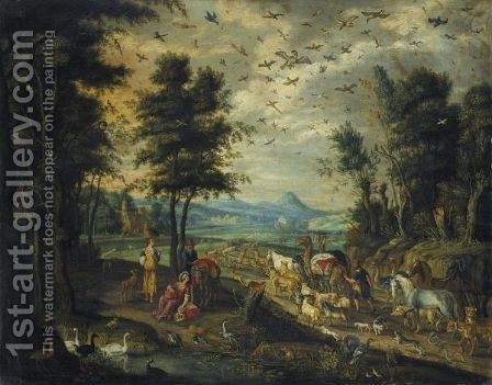 Noah Leading The Animals To The Ark by Isaak van Oosten - Reproduction Oil Painting