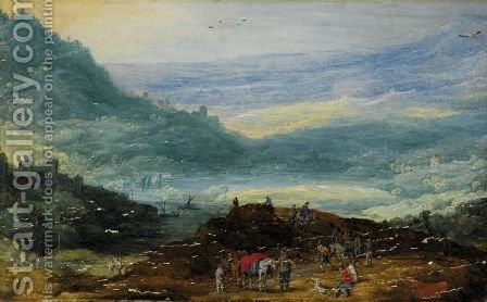 A Mountainous Landscape With A Group Of Travellers In The Foreground, A Lake And Town In The Distance by (after) Joos Or Josse De, The Younger Momper - Reproduction Oil Painting