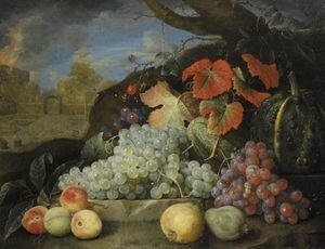 Still Life Of Grapes, Melons, Peaches And Pears Set In A Formal Garden Exterior