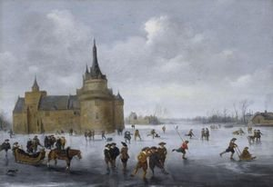 Skaters On A Frozen Lake Near A Castle