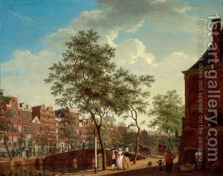 Amsterdam, A View On The Keizersgracht From The Westermarkt, With The Westerhal On The Right, Elegant Figures Conversing In The Foreground, With  Other Figures And A Horse-Drawn Carriage Crossing A Bridge Beyond by Isaak Ouwater - Reproduction Oil Painting