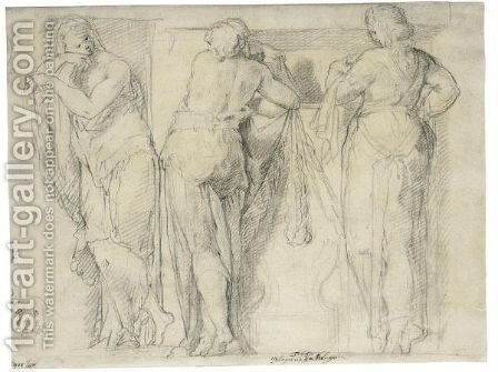 Design For A Frieze With Three Caryatids And A Sketch Of The Head Of A Dog by (after) Hans Speckaert - Reproduction Oil Painting