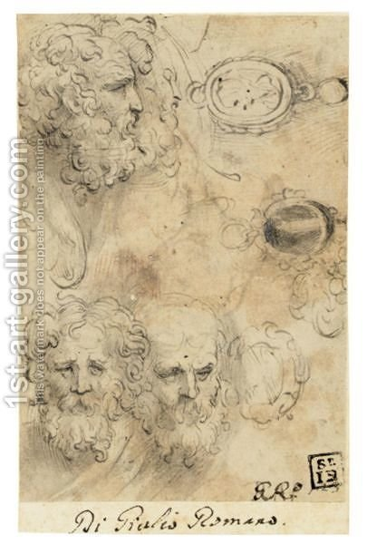 A Sheet Of Studies With Four Heads Of Bearded Men, One In Profile, And Three Studies Of Pendant Jewels, One With A Standing Figure And Another With An Oval Portrait by Girolamo Francesco Maria Mazzola (Parmigianino) - Reproduction Oil Painting