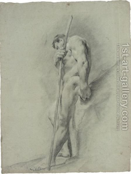 A Standing Nude Holding A Staff by (after) Giovanni Battista Piazzetta - Reproduction Oil Painting