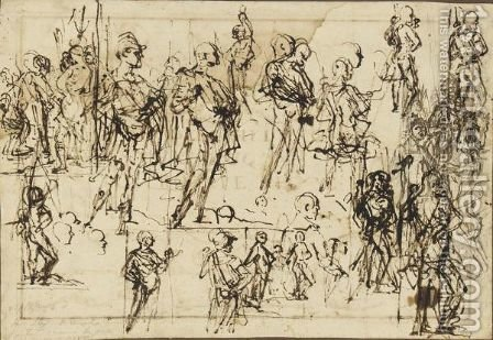 Sheet Of Figure Studies by (after) Giovanni Antonio Fasolo - Reproduction Oil Painting