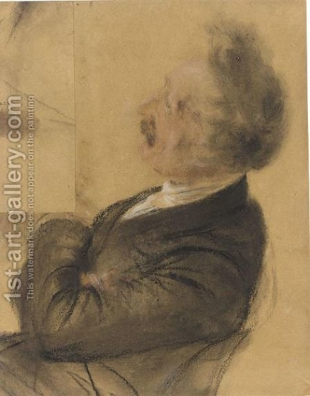 Study Of A Seated Man In Profile To The Left, Leaning Back In Contemplation by Adolph von Menzel - Reproduction Oil Painting