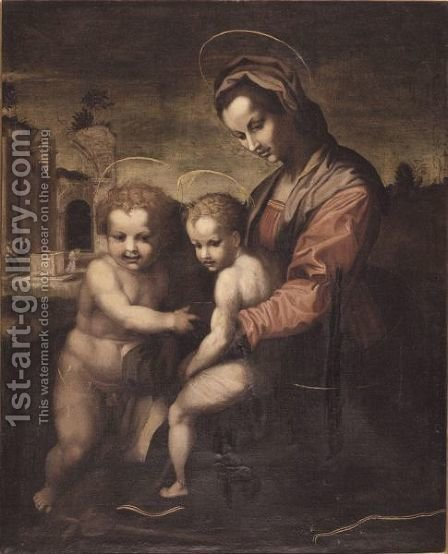 The Madonna And Child With Saint John The Baptist In A Landscape by (after) Andrea Del Sarto - Reproduction Oil Painting