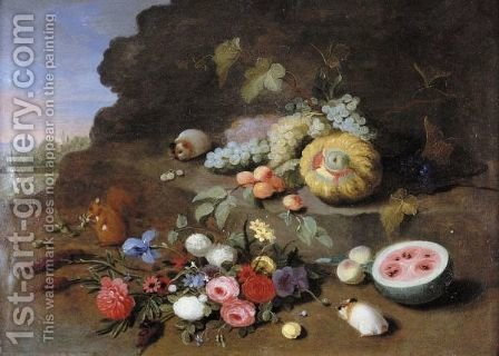 A Still Life With A Posy Of Flowers, A Squirrel, Guinea Pigs, Grapes, A Melon And A Watermelon by (after) Jan Van Kessel - Reproduction Oil Painting