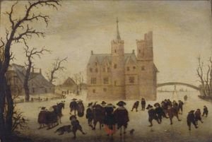 A Winter Landscape With Figures Skating Before A Manor