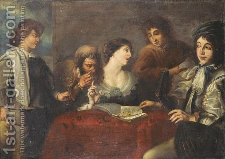 An Interior With An Elegant Company Drinking And Playing Music by (after) Jan Cossiers - Reproduction Oil Painting