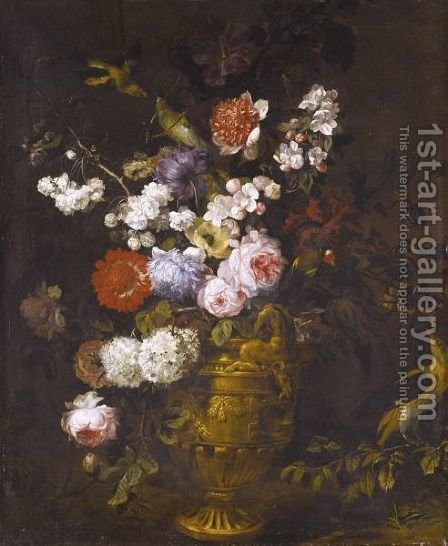 A Still Life Of Roses, Carnations, Hydrangeas And Other Flowers In A Classical Urn, With Birds by (after) Jean-Baptiste Monnoyer - Reproduction Oil Painting