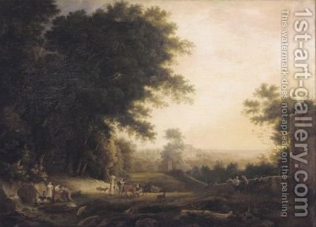 An Italianate Landscape With Figures Drinking From A Spring, A Villa Beyond by (after) Claude Lorrain (Gellee) - Reproduction Oil Painting