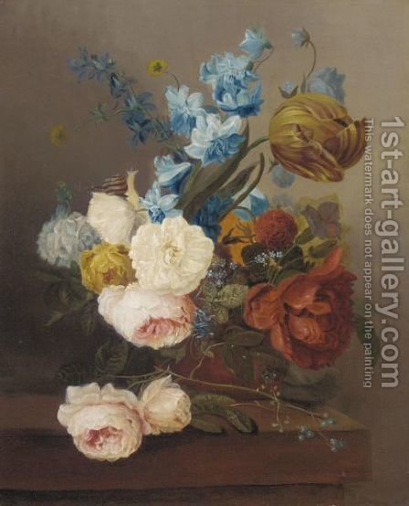 A Still Life With Roses, Tulips And Various Flowers by (after) Cornelis Van Spaendonck - Reproduction Oil Painting