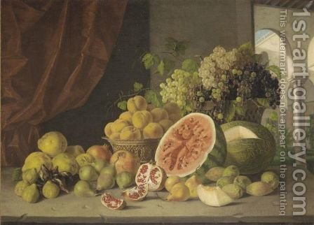 A Still Life With Baskets Of Grapes And Peaches, Together With Figs Watermelons by Italian School - Reproduction Oil Painting