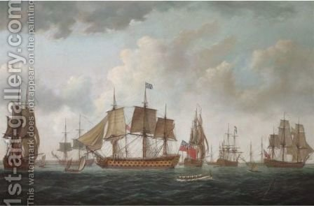 H.M.S. Queen Charlotte With The British Squadron And Allied Men-Of-War At Spithead, Prior To Sailing To Ushant In 1794 by Adam Callander - Reproduction Oil Painting