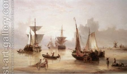 Fishing Boats Off The Shore In A Calm by Henry Redmore - Reproduction Oil Painting