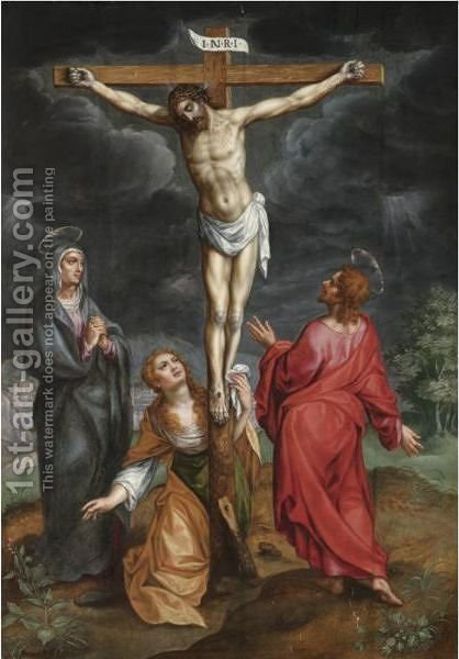The Crucifixion by Hendrick De Clerck - Reproduction Oil Painting