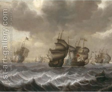 A Naval Engagement by (after) Pieter Jansz. Coopse - Reproduction Oil Painting