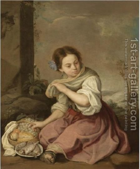 A Young Girl Seated In A Landscape, Holding A Basket Of Fruit And A Plate Of Fish by (after) Murillo, Bartolome Esteban - Reproduction Oil Painting
