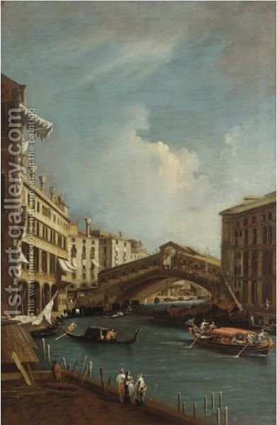 Venice, A View Of The Rialto Bridge Seen From The North by (after) (Giovanni Antonio Canal) Canaletto - Reproduction Oil Painting