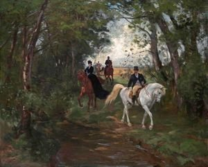 Reproduction oil paintings - Rudolf Koller - Spazierritt Am Waldrand  Outing On The Forest's Edge
