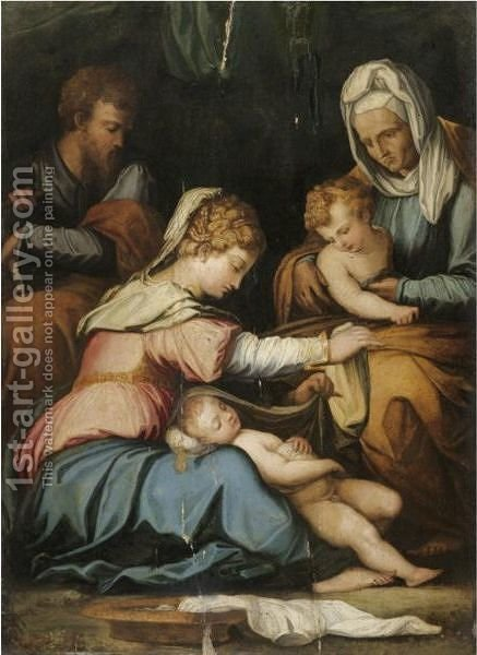 The Holy Family With Saint Elizabeth And The Infant Saint John The Baptist by (after) Giorgio Vasari - Reproduction Oil Painting