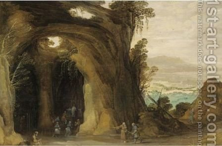 A Landscape With Pilgrims Attending A Service In A Grotto, A Monk Reading In The Foreground by (after) Joos De Momper - Reproduction Oil Painting