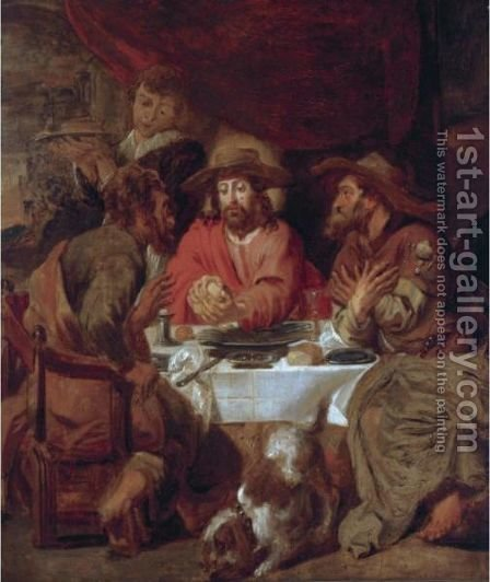The Supper At Emmaus by (after) Jacob Jordaens - Reproduction Oil Painting