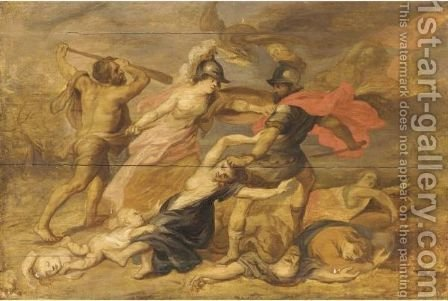 Hercules And Minerva Fighting Mars by (after) Sir Peter Paul Rubens - Reproduction Oil Painting