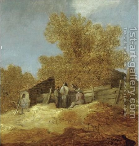 A Dune Landscape With Peasants Gossiping Before A Cottage by (after)  Jan Van Goyen - Reproduction Oil Painting
