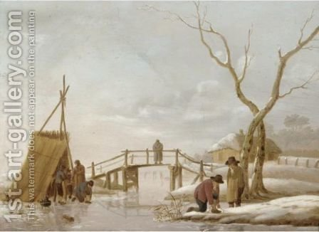 A Winter Landscape With Figures Putting Their Skates On by (after) Hendrick Willem Schweickardt - Reproduction Oil Painting