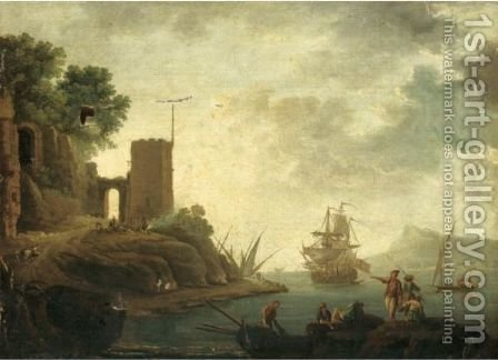 A Mediterranean Harbour Scene 2 by (after)  Claude-Joseph Vernet - Reproduction Oil Painting