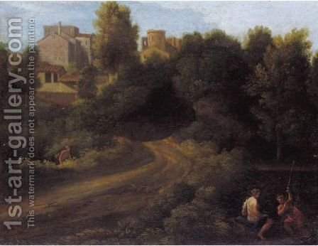 A Classical Landscape With Figures Near A Bridge Leading To A Village by (after) Gaspard Dughet - Reproduction Oil Painting