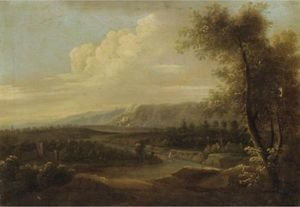 Extensive Italianate Landscape With Figures In The Foreground, A Castle Beyond