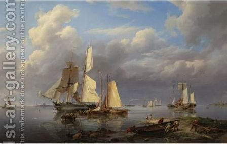 Shipping Estuary Hauling In The Boats At Day's End by Hermanus Koekkoek - Reproduction Oil Painting