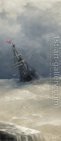 Ship On High Seas by Aleksei Vasilievich Hanzen - Reproduction Oil Painting