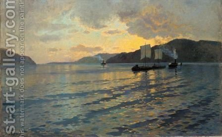 Steamers At Dusk by Ivan Ivanovich Endogourov - Reproduction Oil Painting