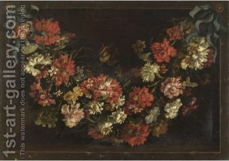 Ghirlanda Di Fiori by (after) Jean-Baptiste Monnoyer - Reproduction Oil Painting