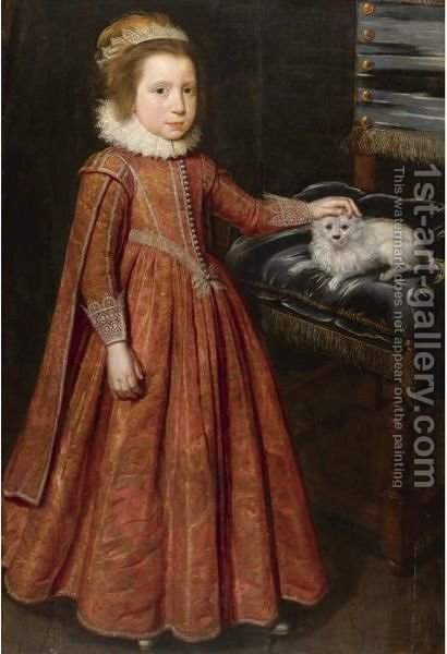 Portrait Of A Girl, Probably Lady Mary Feilding (1613-1638), Later Duchess Of Hamilton by (after) Paulus Van Somer - Reproduction Oil Painting