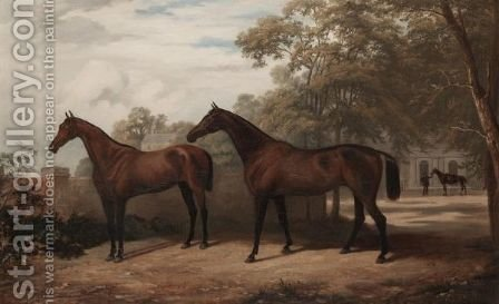 Two Bay Hunters In A Landscape by (after) Henry Calvert - Reproduction Oil Painting