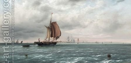 Shipping Off The Coast by (after) William Joy - Reproduction Oil Painting