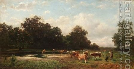 Cattle Watering by Gustav Ranzoni - Reproduction Oil Painting