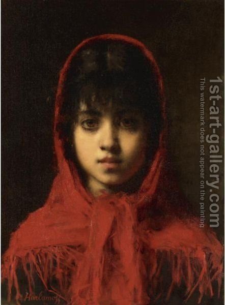 Young Girl In A Red Shawl by Alexei Alexeivich Harlamoff - Reproduction Oil Painting